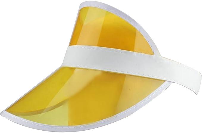 Ababalaya SPF 50 + Protección UV Unisex PVC ala Ancha Transparente Sun  Visor Sombrero d23dd102208