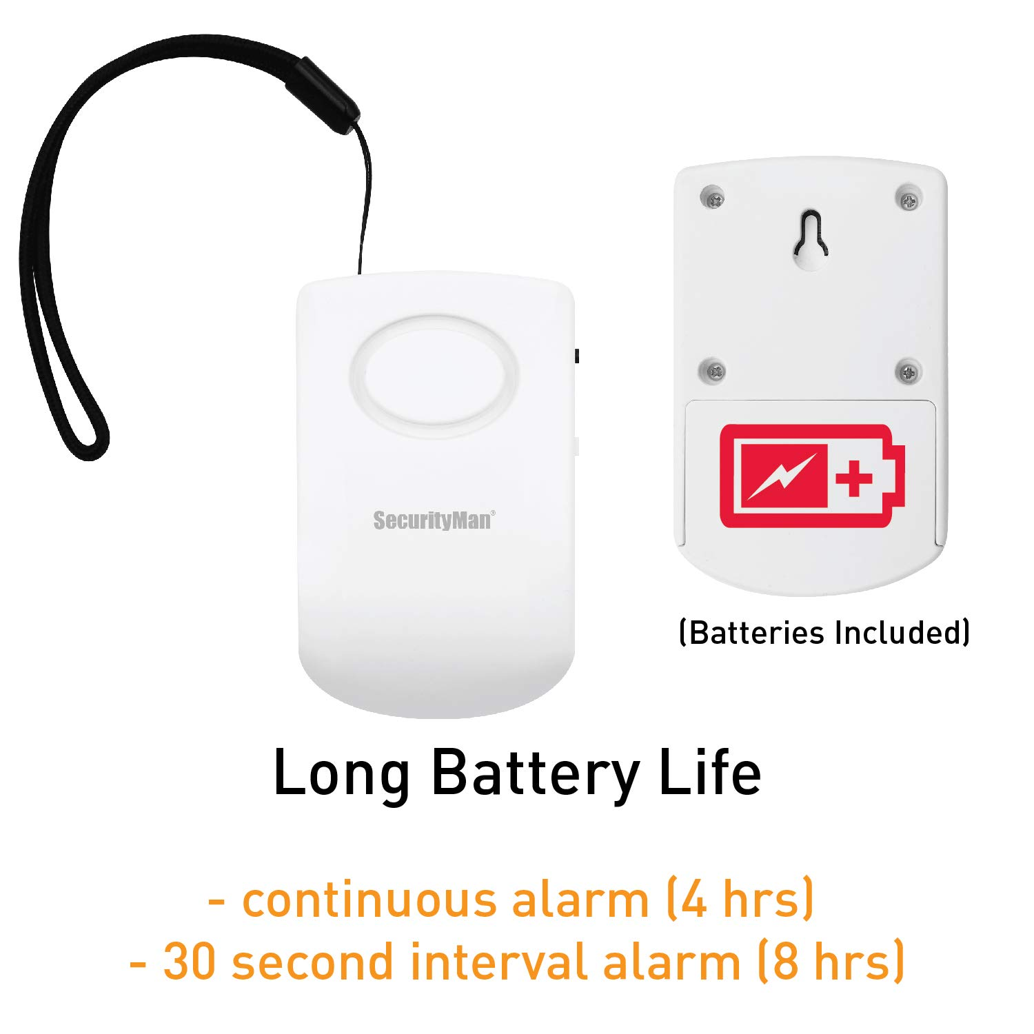 2 Pack Apartment Bedroom Hang On Door Knob Or Mount On Wall Securityman Door Handle Alarm With 130db Vibration Triggered Door Alarm Elderly Hotel Travel Perfect Use For Kids Electronics Security