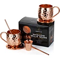 Moscow Mule Copper Mugs: Set of Two - Includes 2 x 18oz Mugs, 2 x Coasters, 2 x Straws, 1 x Shot Glass/Cup in Gift Box with Bonus Cocktail Recipe eBook 100% Copper Handmade Barrel Style Drinking Mug