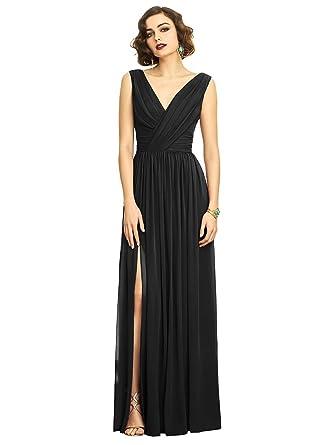 ff775a8a01e Dessy Style 2894 Floor Length Chiffon Shirred Skirt Formal Dress -  Sleeveless Draped V-Neck