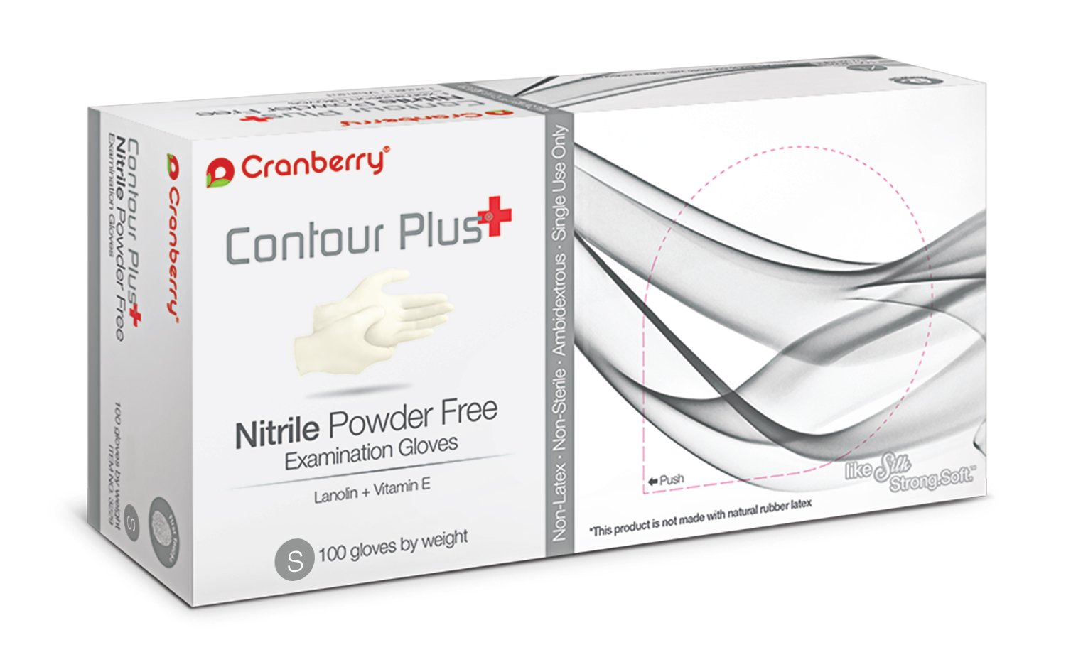 Cranberry USA CR3226case Contour Plus Nitrile Powder Free Exam Gloves, Small, White (Pack of 1000)