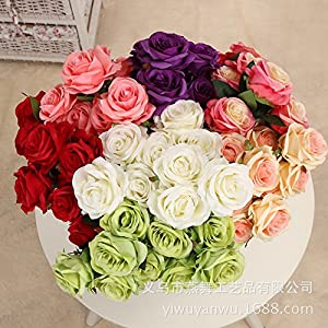 Loweryeah Artificial Flowers Fake Flowers Silk Plastic Artificial Roses Bridal Wedding Bouquet for Home Garden Party Wedding Decoration 105