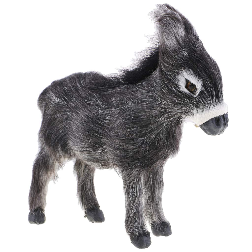 B Blesiya Grey Donkey Figurine Model Plush Animals Figure Home Decor Garden Ornament