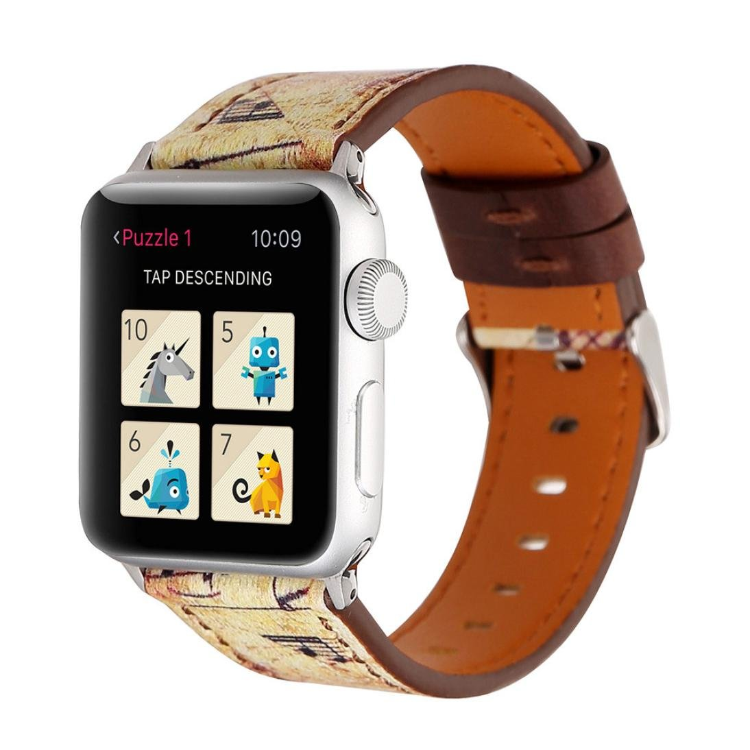 For Apple Watchバンド38 mm、ヴィンテージ花音楽NOTE Chopレトロスタイルレザーストラップバンド交換リストバンドApple腕時計ブレスレットアクセサリー C C B078ZXN38G