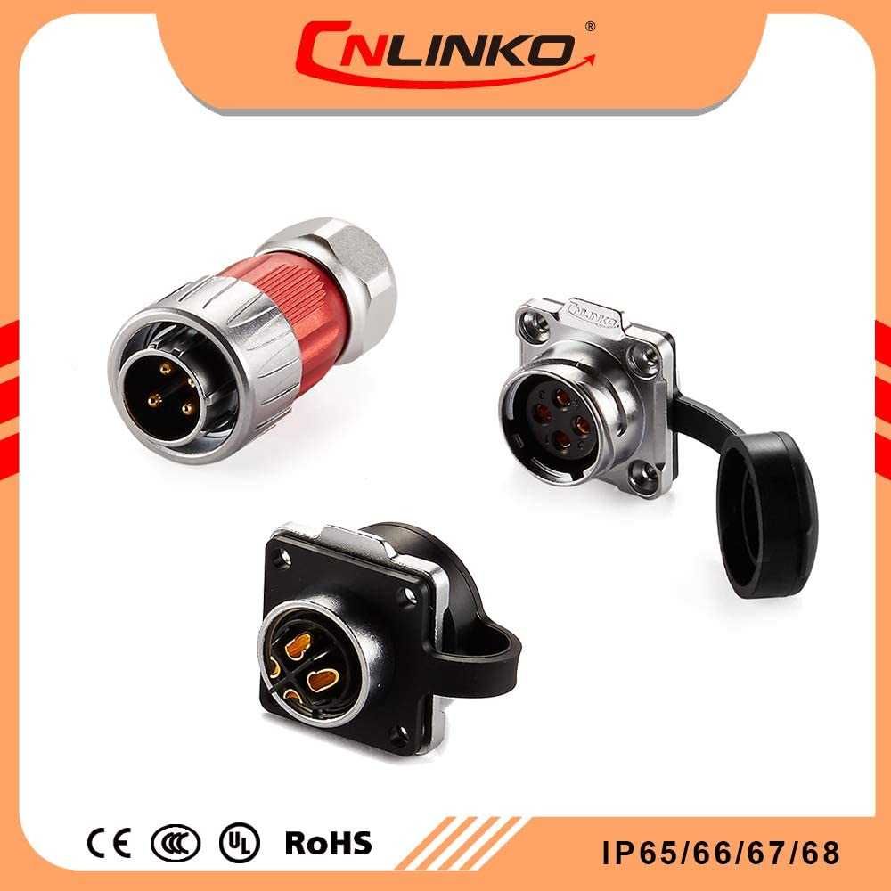 CNLINKO DH20 Aviation Connector M20 Male Plug with Female Socket Waterproof Metal Thread Panel Connector 4 Pins for AC DC Signal LED Lighting Equipment