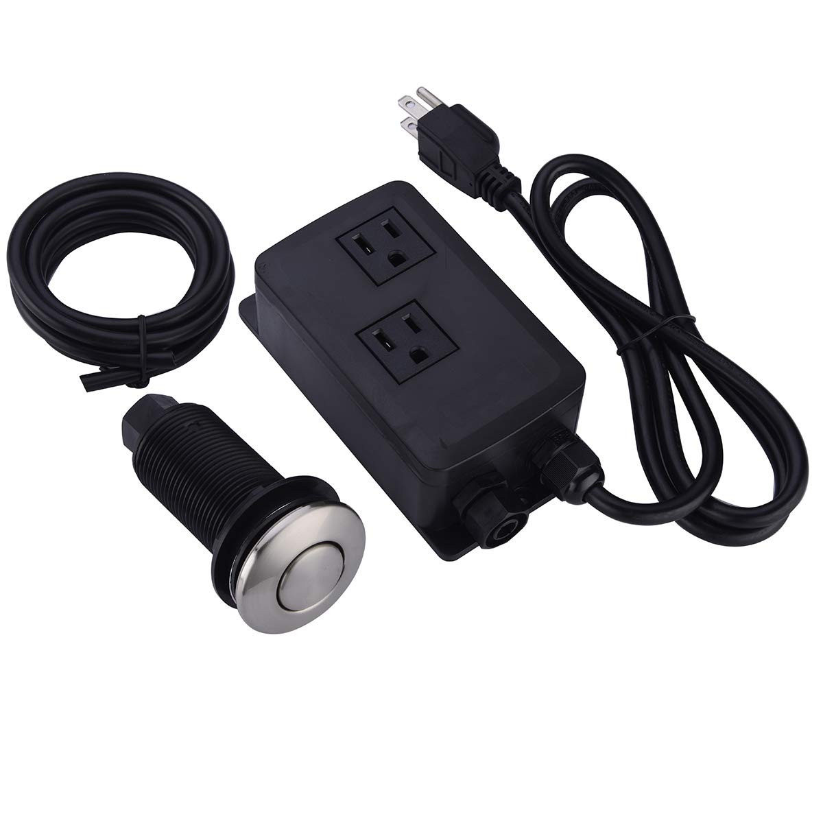 BESTILL Sink Dual Outlet Air Switch for Garbage Disposal, Matte Black