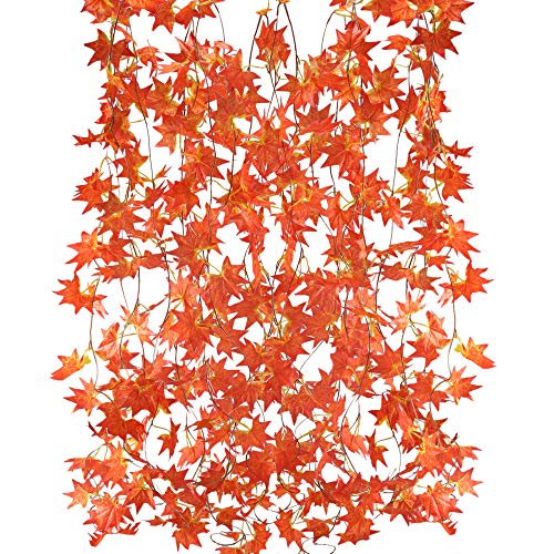 HUAESIN 5 Strands (41 Ft) Fall Leaves Garland Decorations Red Silk Autumn Leaves Garland Maple Garlands Artificial Fake Hanging Plant for Autumn and Thanksgiving Wedding Halloween]()