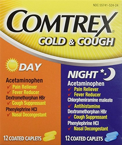 Comtrex Cold & Cough Coated Caplets Day/Night - 24 ct, Pack of 4 (Comtrex Cold And Cough Day And Night)