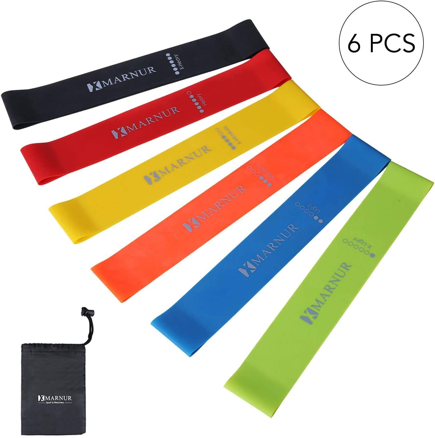 6 PCS MARNUR Resistance Loop Bands Exercise Bands Resistance Loops Workout Yoga Pilates Arm Stretching Strap Rehab Home Fitness for Men Women