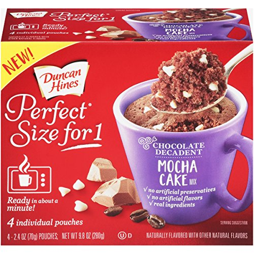 Duncan Hines Perfect Size for 1 Cake Mix Ready in About a Minute Mocha Cake 4 Individual Pouches 24 Ounce Pack of 4