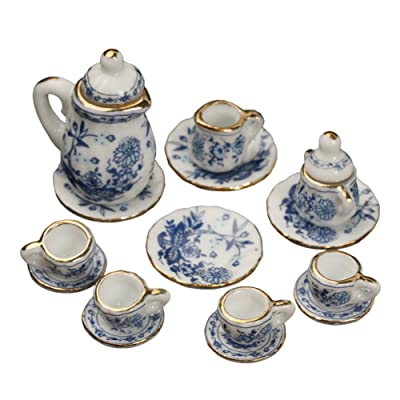 15 PCS 1:12 Miniature Doll House Ceramic Tea Cup Set Kitchen Accessories Pretend Play Toy for Kids Boys Girls: Toys & Games