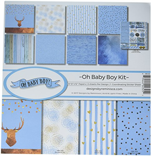 Reminisce (REMBC) OBB-200 Oh Baby Boy Scrapbook Collection Kit, Multicolor (Best Baby Scrapbook Kit)