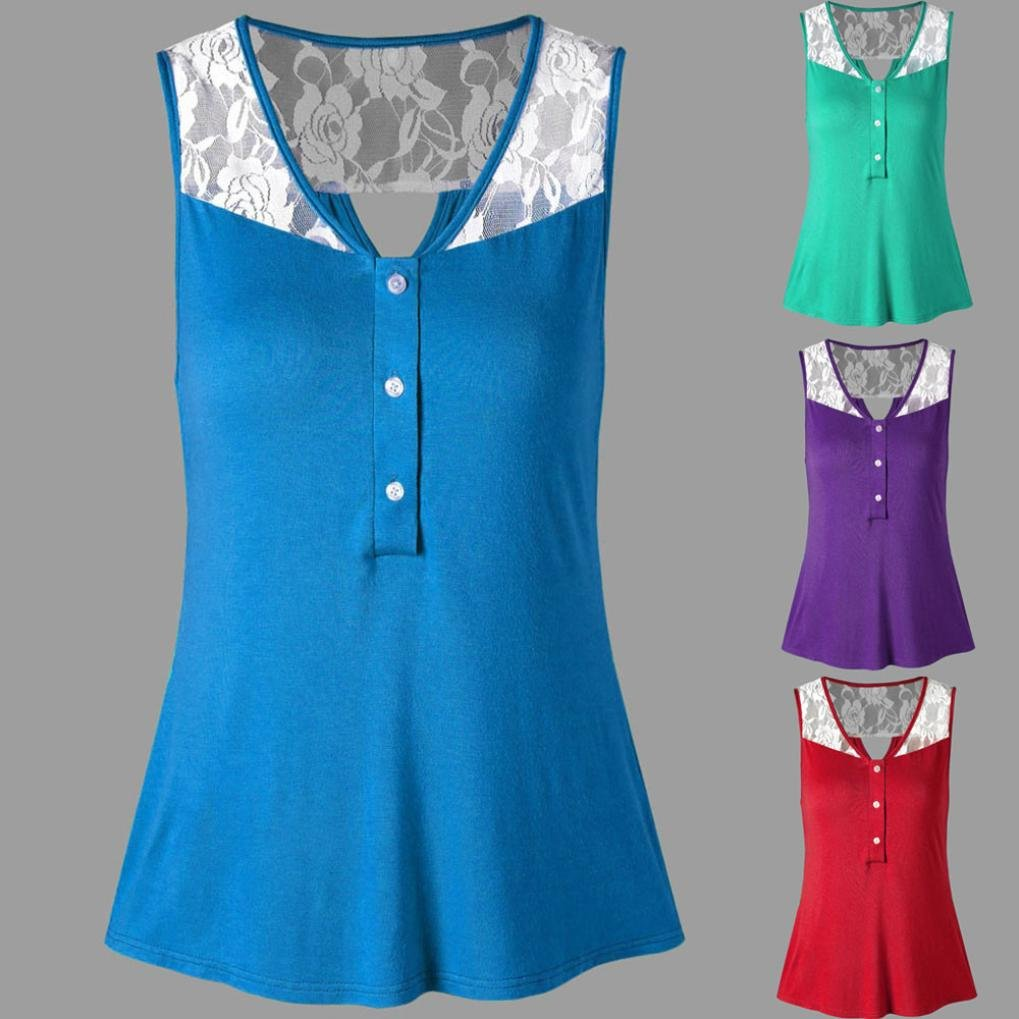 Amazon.com: Tank Tops, FORUU Womens Casual Summer Buttom Lace Patchwork Shirt Vest Blouse: Clothing