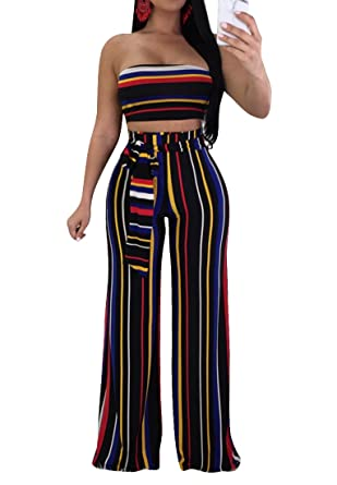 ddcb7f4a3656 Amazon.com  WO-STAR Jumpsuits and Rompers for Women Striped Bandeau Tube  Crop Top Long Pants with Belt  Clothing