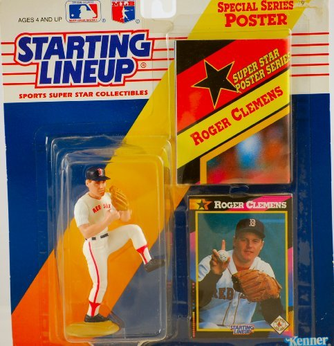 Boston Red Sox Special Edition - 1991 - Kenner - Starting Lineup - MLB - Roger Clemens #21 - Boston Red Sox - Vintage Action Figure - w/ Trading Card & 11x14 Special Poster - RARE - Limited Edition - Collectible