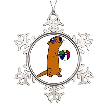 Xixitly Ideas For Decorating Christmas Trees Funny Sea Otter At The Beach In Sunglasses Personalized