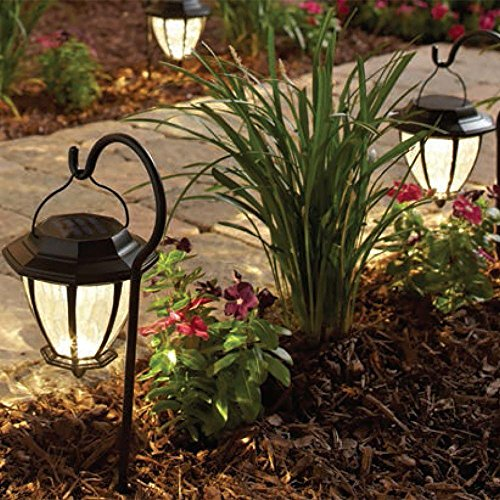 Hampton Bay Matte Black Solar Path Light (4-Pack) Hook included, 93603 - Matte Black Arbor