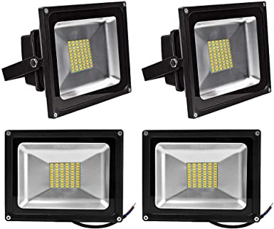 Pack of 4, Luz 50W SMD Foco LED Proyector de exterior - Blanco ...