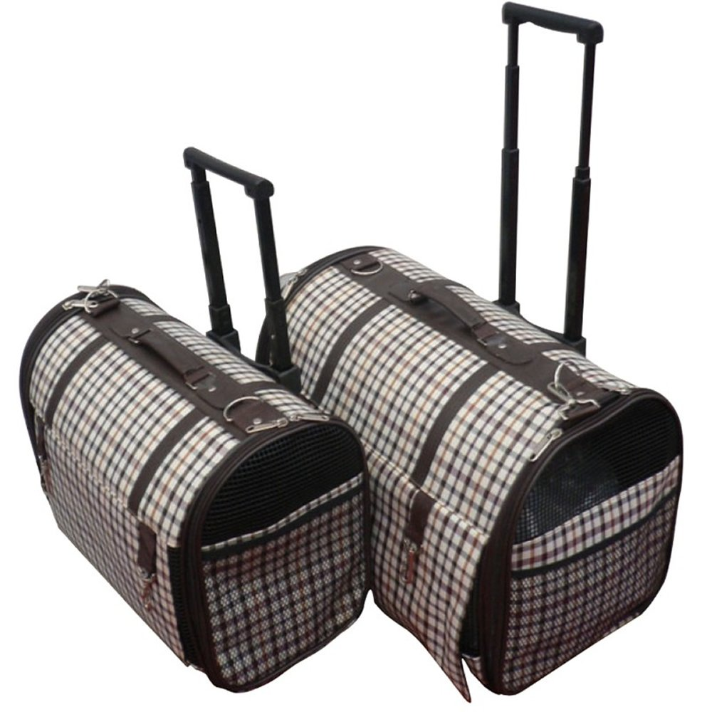 Large Pet Trolley Carrier with Telescopic Handle Ferribiella 2Sizes 2Fantasies (Brown, Large)