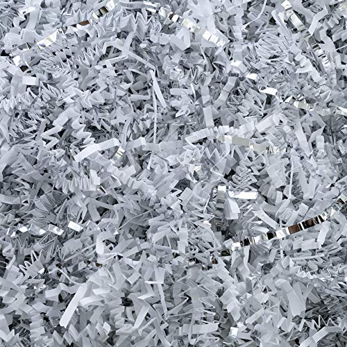 (Crinkle Cut Paper Shred Filler (1/2 LB) for Gift Wrapping & Basket Filling - White & Silver | MagicWater Supply)