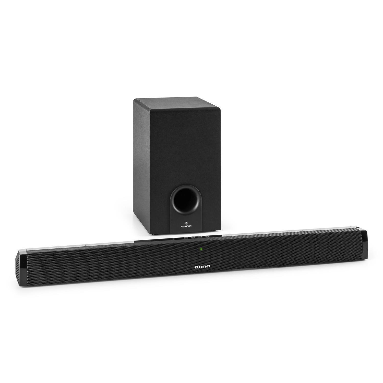 auna Areal Bar 550 Barra de Sonido con Subwoofer 2.1 Bluetooth (60W RMS Potencia, Entrada Aux, Sonido 3D, Mando Distancia, Altavoz sobremesa o Pared) - Negro