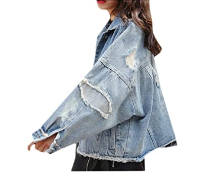 1c7f7f14bff Tootless-Women Ripped Plus Size Patches Wrap Short Boyfriend Denim Jacket  Blue XS
