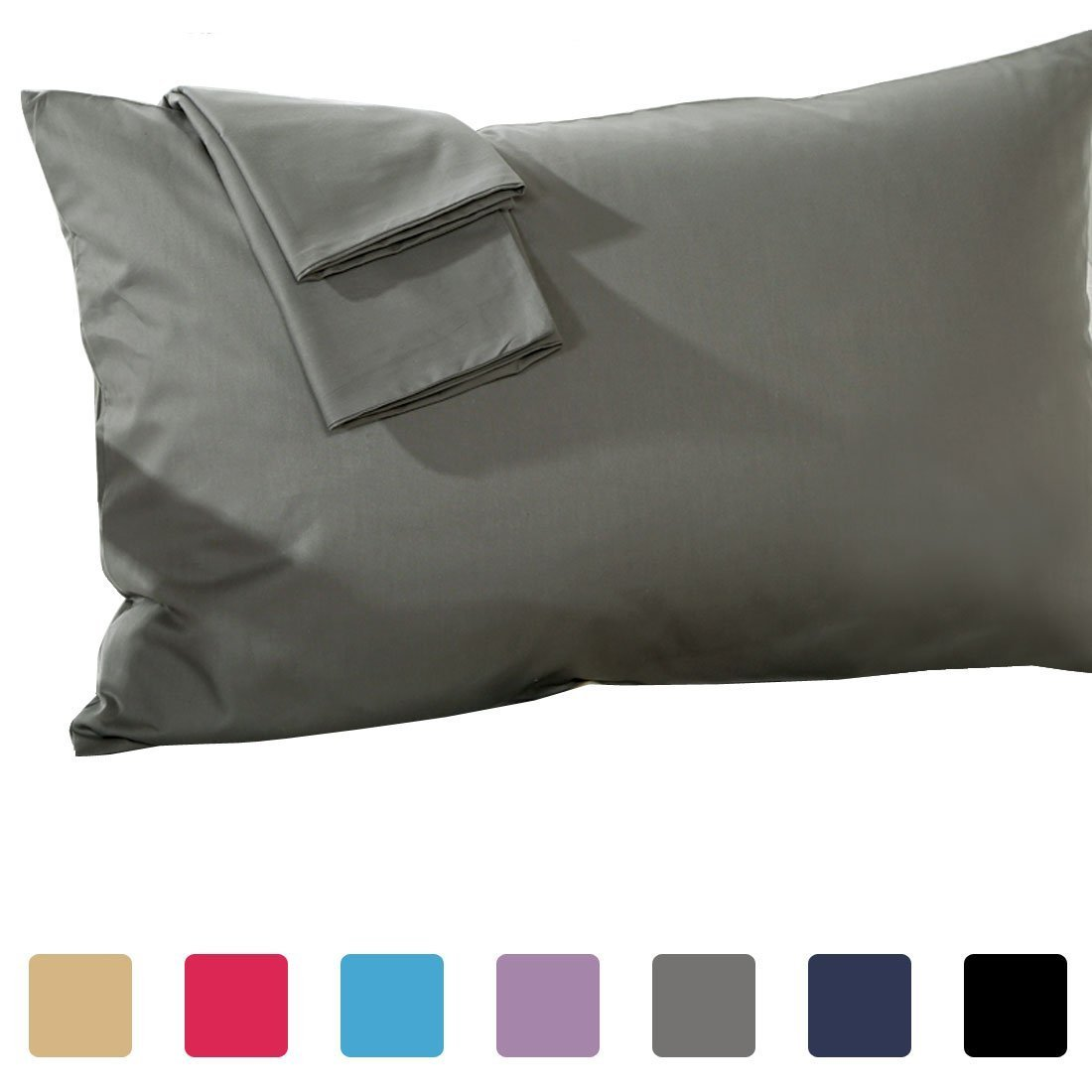 Set of 2 - Toddler Travel Pillowcase 500 Thread Count 12''x16'' Size, Dark Gray, with 100% Egyptian Cotton