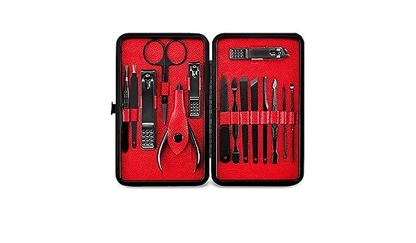 BaZhaHei 15 unids de acero inoxidable tijeras de corte tijeras traje set kits manicura Juego de herramientas para uñas cortauñas (15 piezas) rojo Belleza de ...