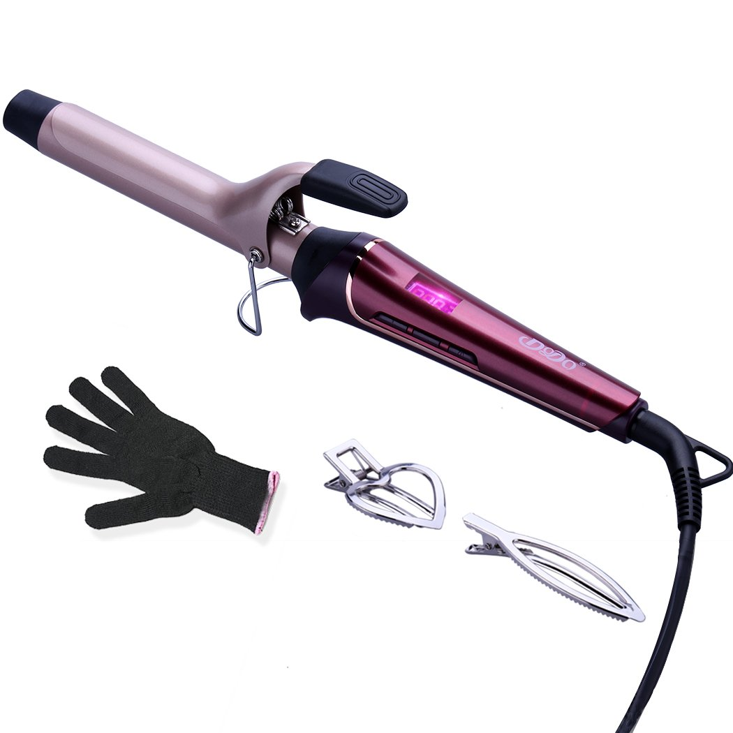 Curling Iron 1 Inch Tourmaline Ceramic Curling Wand, Metal Ceramic Heating Tech, Dual Voltage, Heat Settings 230℉-410℉, LCD Digital Display, with heat resistant glove and 2 Hair Clips Dkiwewo