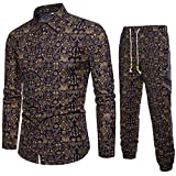 LEXUPA Men's Casual Long Sleeve Shirt Business Slim Fit Shirt Print Blouse Top+Pants (Black ,XXXX-Large)