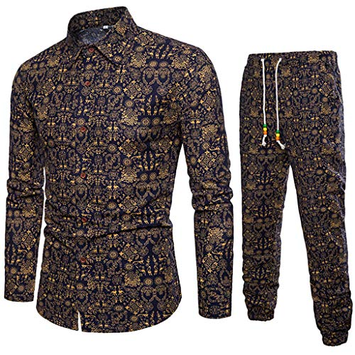 (LISTHA Linen Men Top and Pants Suit Floral Long Sleeve Shirt Business Fit)