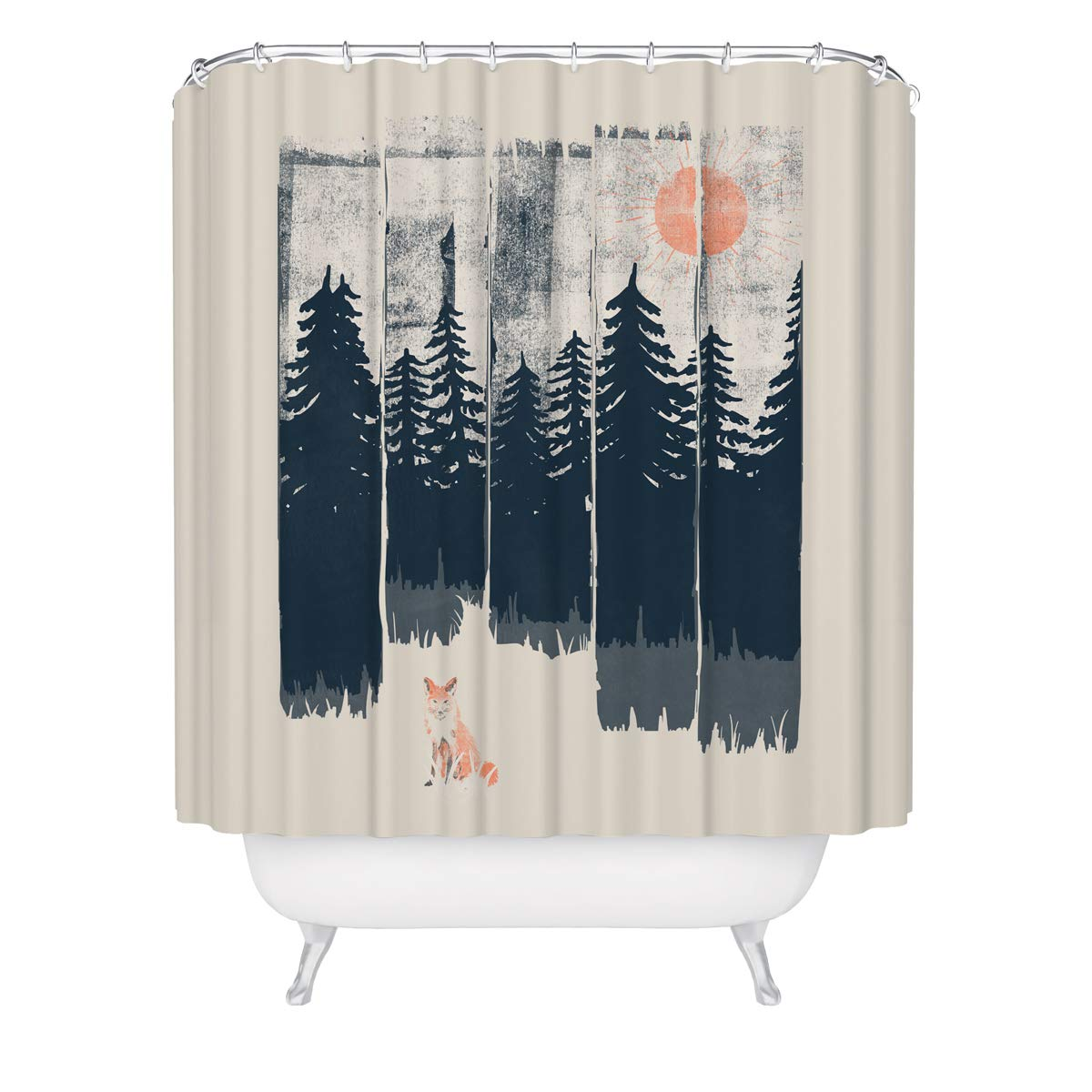 Wilderness Fox Shower Curtain - Outdoor Nature Forest Trees Woods Wildlife Cabin Bathroom Decor, Hiking Camping Woodland Inspiration Mold Resistant Fabric Curtain 71x 74