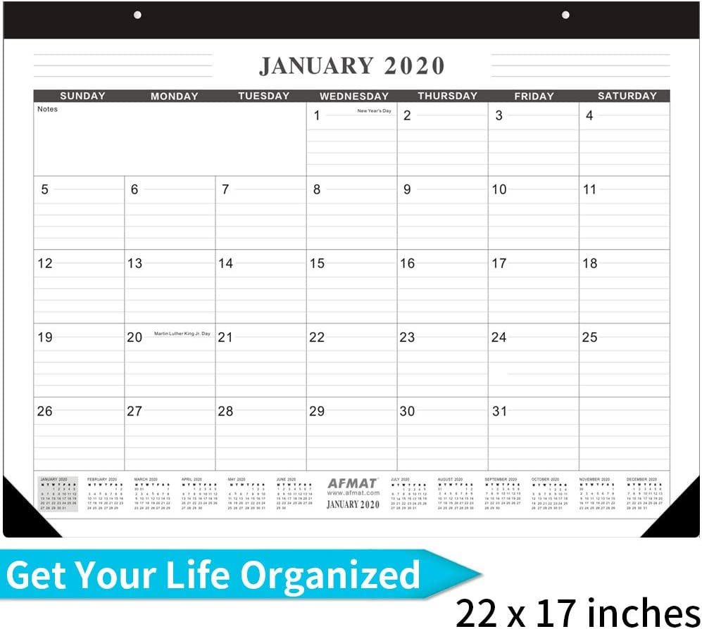 Large Desk Calendar 2020, 22 x 17 inch, Desk/Wall Monthly Planner Jumbo,Large Desk Calendar with Large Space for Notes, Hanging Holes, Ruled Blocks, Smooth Writing for Teachers- Black & White