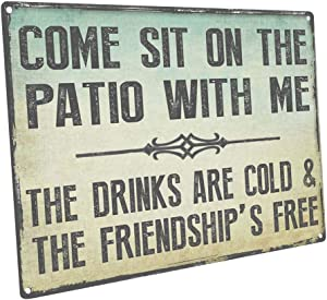 HBA Sun Protected Come Sit on The Patio with Me Metal Sign, Guaranteed not to Fade for 4 Years,Outdoor Living, Patio Decor