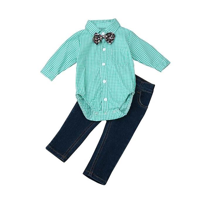 2PCS Bebé Cuadros manga larga Corbata Camisa+vaqueros Jeans pantalones ropa Conjunto,Yannerr Recién