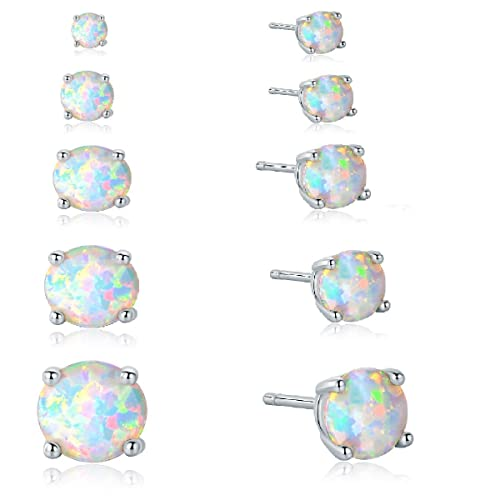 8fd7d747f GEMSME 18K White Gold Plated 3/4/5/6/7mm Round Opal Stud Earrings Pack of  4: Amazon.ca: Jewelry