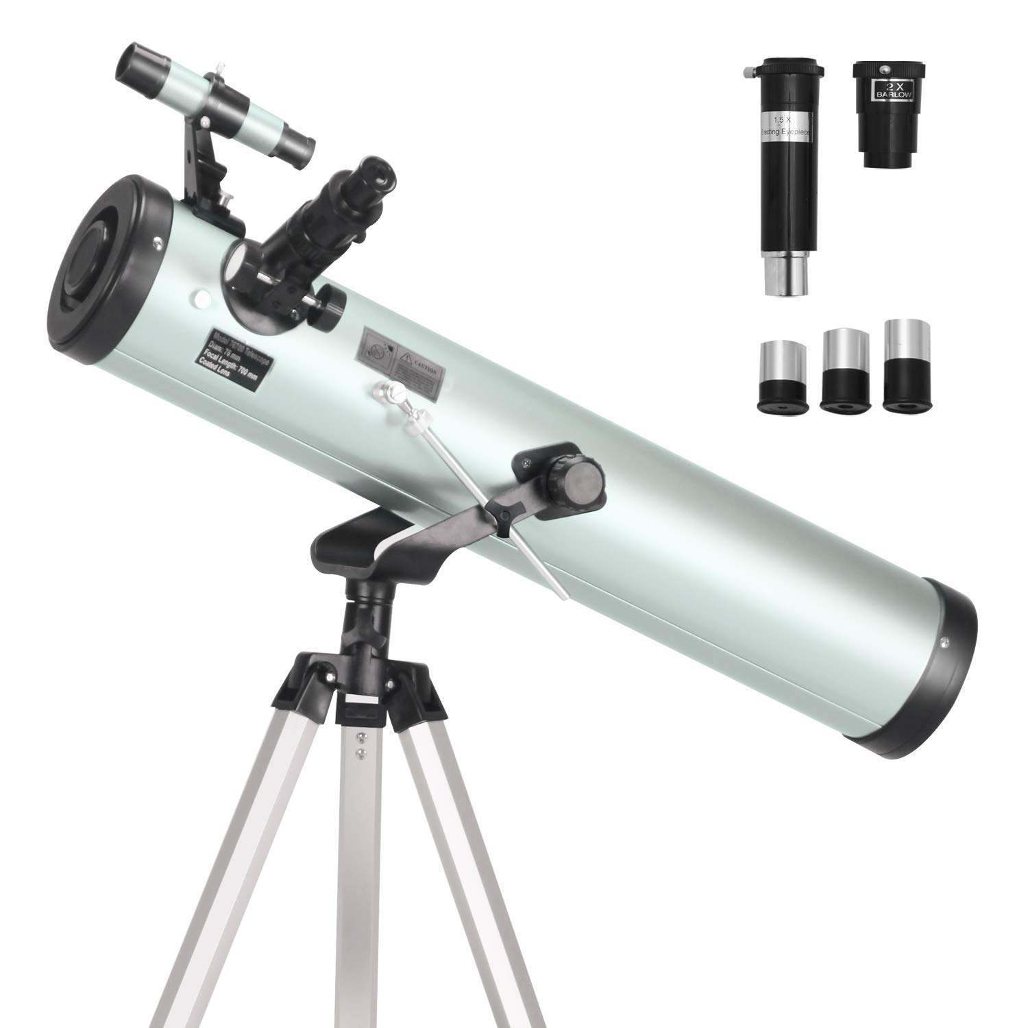 ToyerBee Telescope 76mm Aperture 700MM, with 3 Eyepieces H20mm H12.5mm H4mm&Tripod&Finder Scope&Moon Mirror, 70X-350X Magnification- Reflector Telescope for Kids& Students&Adults&Astronomy Beginners by ToyerBee