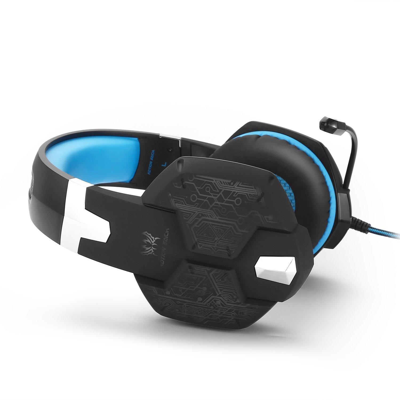 KOTIONEACHGaming Cuffie con Microfono per Video 3,5 Millimetri G1000 Professionale PC Gaming Headset Stereo Bass Auricolari di Isolamento di Rumore Cuffia Respirazione Durante Luce Oreja Colore LED Laptop(Blu)