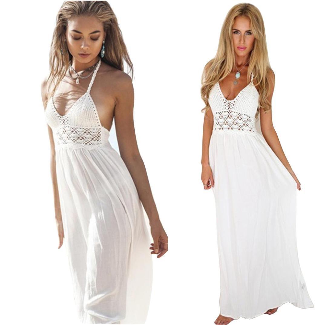 snowfoller女性ビーチボヘミアンドレス、夏ファッションかぎ針編み中空アウトバックレスホルターネックイブニングパーティーマキシロングドレス B07BHLN3CM ホワイト Medium