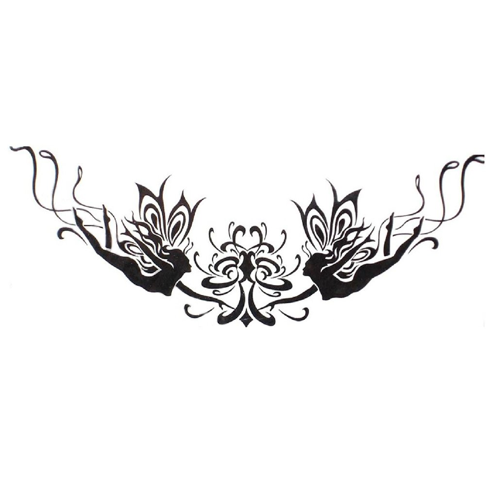 Set of 4 Hot Black Angel&Flower Totem Body Tattoo Stickers Fake Tattoo Designs