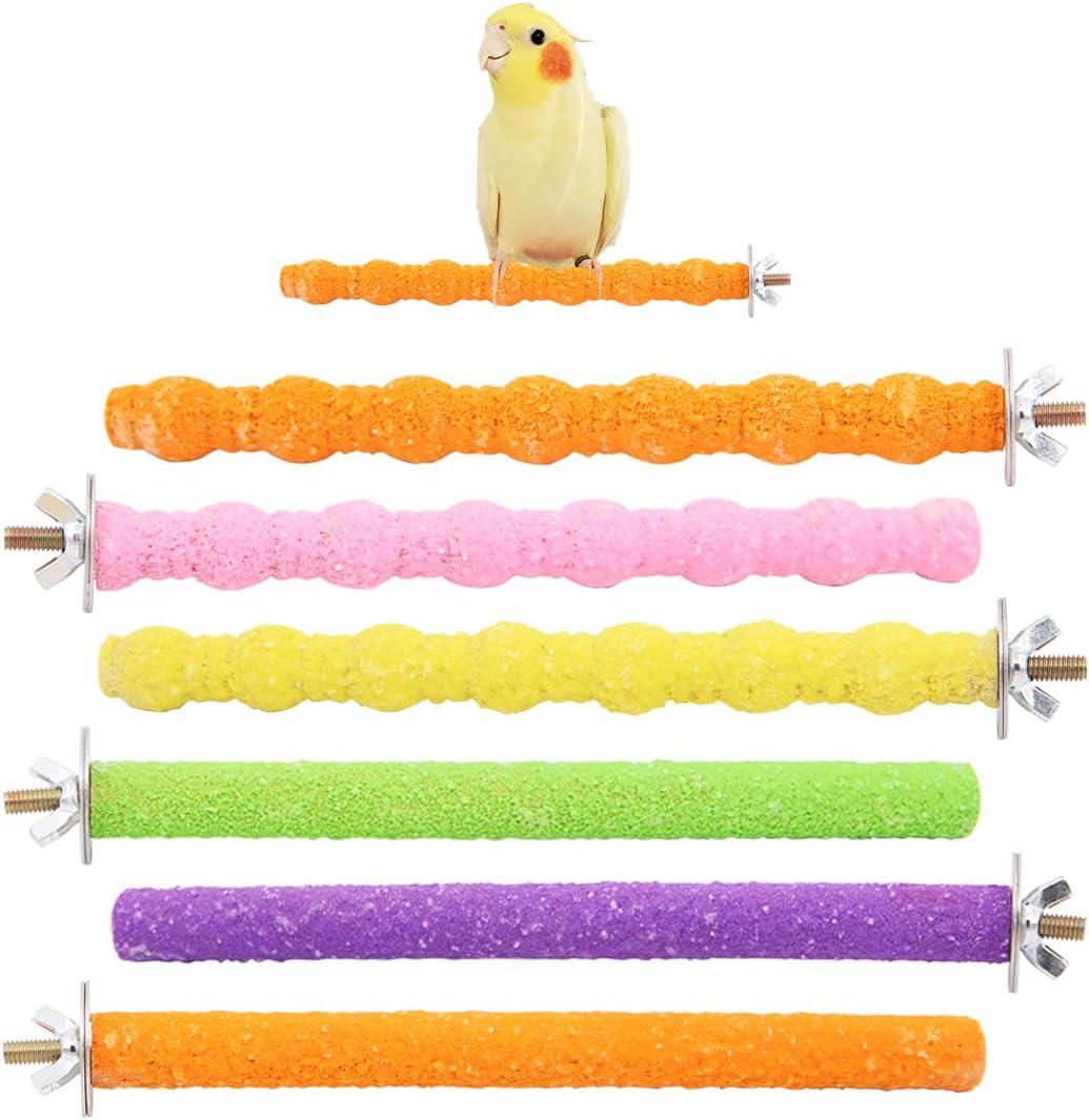 6 piezas perchas de loro, barra de soporte de matorral de jaula de pájaros coloridos para periquitos de loros periquitos cacatúas Conure Lovebird jaula juguete de molienda de patas