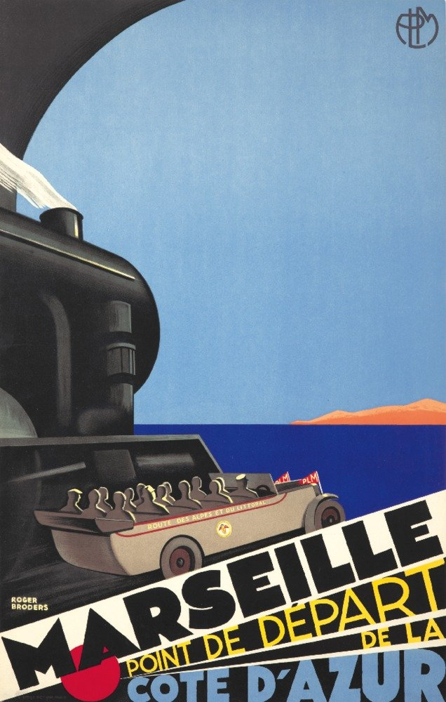 Marseille – Cote D ' Azurヴィンテージポスター(アーティスト: Broders , Roger )フランスC。1929 36 x 54 Giclee Print LANT-64661-36x54 B01MPVSVH9  36 x 54 Giclee Print