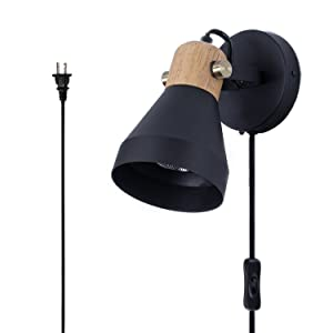 TeHenoo Minimalist Plug in Wall Sconce Modern Black Wall Lamp with Cord Contemporary Rotatable Wall Light Fixture for Bedroom Living Room Bedside Lamp