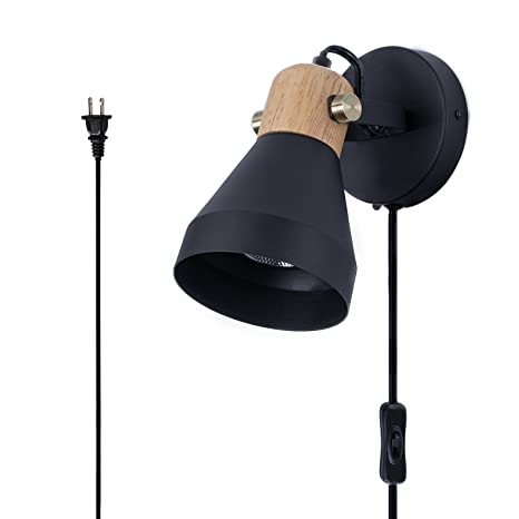 TeHenoo Matte Black Plug-in Wall Sconce,Modern Rotatable Wall Lamp with  On-Off Switch Cord for Bedroom,Living Room,Reading,Kitchen,Laundry Room