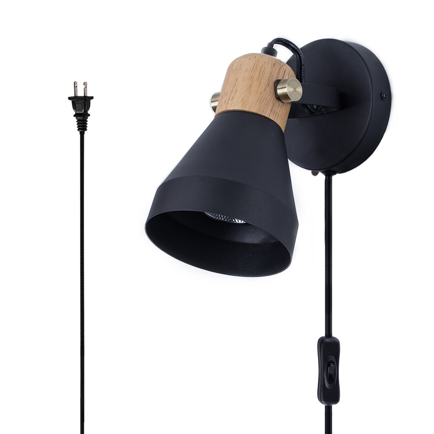 Minimalist Plug-in Wall Sconce Modern Black Wall Lamp with Cord Contemporary Rotatable Wall Light Fixture for Bedroom Living Room Bedside Lamp by BSM (Image #1)