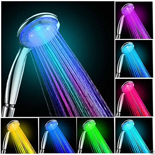 7 Color Changing Showerhead Handheld Temperature LED Glow Bright Light Water Spray