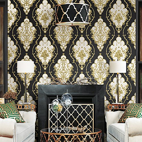 JZ27 Luxury Damask Wallpaper Rolls, Black/Gold/Silver Embossed Texture Victorian Wall Paper Home Bedroom Living Room Hotels Wall Decoration 20.8''x 31ft by JZHOME (Image #2)