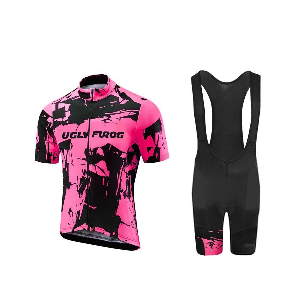 Uglyfrog Fahrradbekleidung Sets Herren Damen Atmungsaktiv Schnell Kurzarm Radfahren Jersey Set Kurzarmtrikot mit 3D Sitzpolster XTNX02