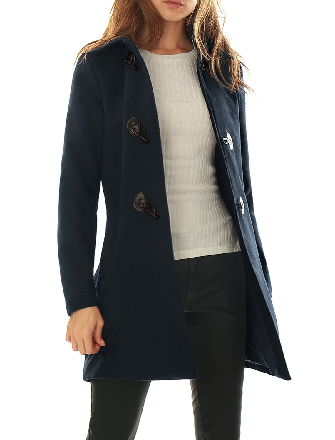 Allegra K Women's Turn Down Collar Slant Pockets Toggle Coat Blue S