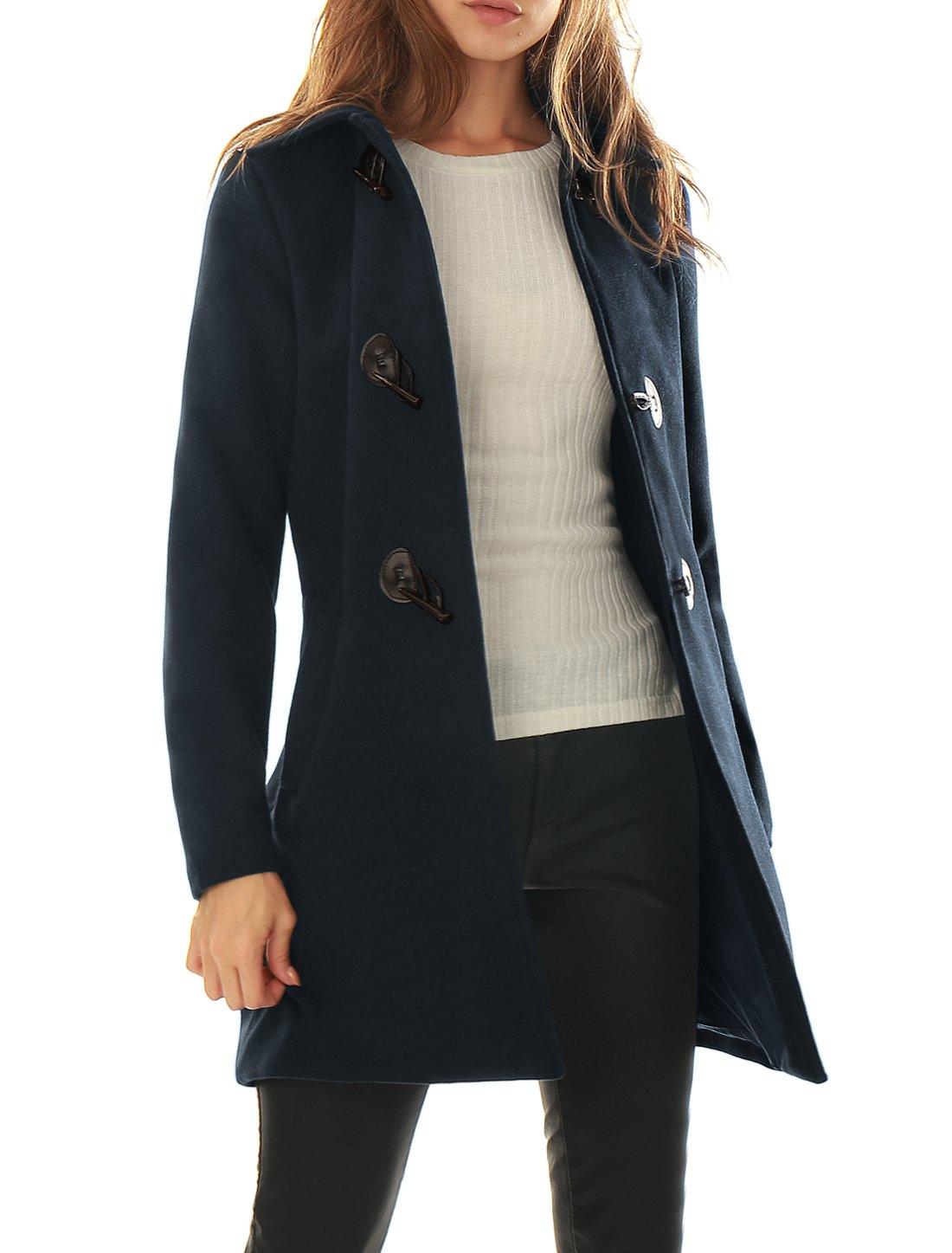 Allegra K Women's Turn Down Collar Slant Pockets Longline Toggle Coat XXS Blue